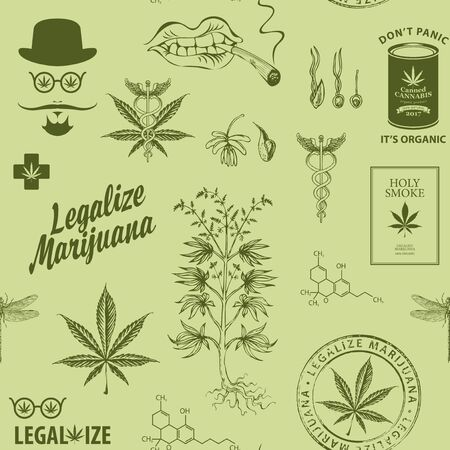 Legalize marijuana. Seamless pattern in retro style with hemp leaves, hipster face, cannabis plant and other sketches. Vector repeatable hand-drawn illustration on a light green background Ilustração Vetorial