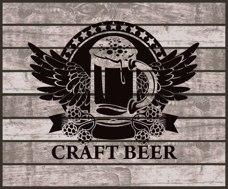 Label or banner for craft beer with overflowing glass of frothy beer, hops and wings on the background of the wooden planks. Decorative vector emblem or illustration, suitable for pub, bar, brewery