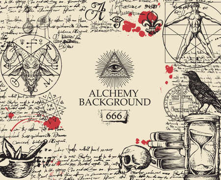 Alchemy background in vintage style. Artistic illustration on alchemical theme with black hand-drawn sketches, handwritten scribbles and notes, red blots and place for text on the old paper background