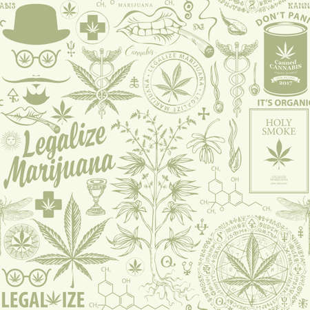 Legalize marijuana. Seamless pattern in retro style with hemp leaves, cannabis plant, hipster face, caduceus and other sketches. Vector repeatable hand-drawn illustration on a light green background