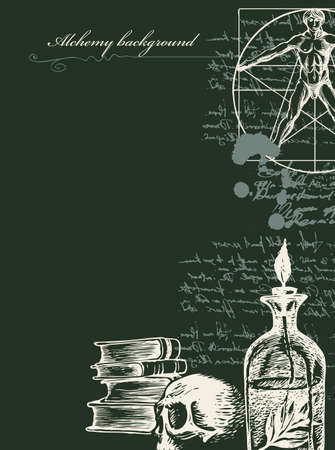 Alchemy background in vintage style. Artistic illustration on alchemical theme with scribbles imitating handwritten text, hand-drawn sketches, ink blots and place for text on the black background  イラスト・ベクター素材