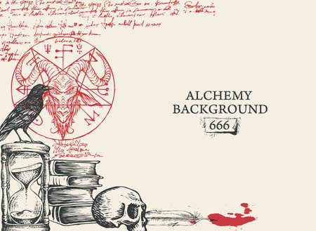 Alchemy background in vintage style. Artistic illustration with black and red hand-drawn sketches, scribbles imitating handwritten text, blood drops and place for text on the old paper background Vektorgrafik