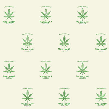Seamless pattern with marijuana labels on a light background in retro style. Smoking weed, canned cannabis. Vector repeatable illustration, suitable for wallpaper, wrapping paper, fabric Illusztráció