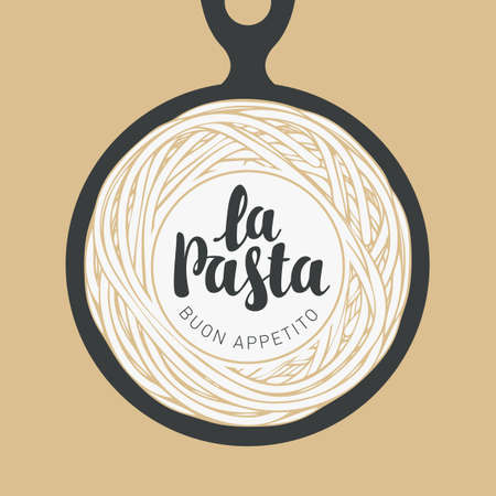 Cooked pasta in a black frying pan in retro style. Italian traditional food. Vector banner or menu for a restaurant with spaghetti and the calligraphic inscription La pasta
