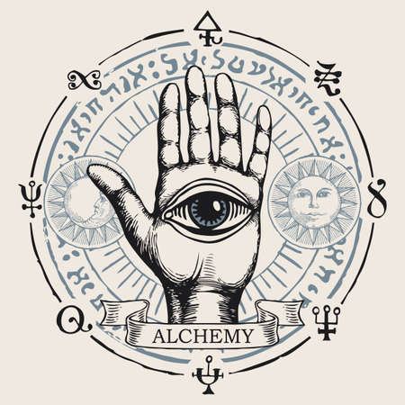 Open palm with all seeing eye symbol. Vector hand-drawn banner on the theme of alchemy with human hand, third eye, esoteric and magic symbols written in a circle in retro style