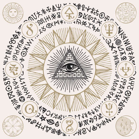 Illustration with an all-seeing eye, alchemical and Masonic symbols. Hand-drawn vector banner with a third eye, esoteric and magical signs written in a circle in retro style
