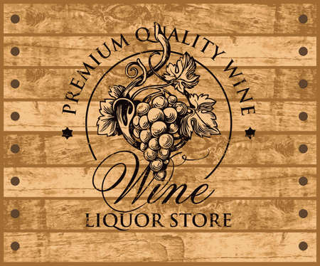 Label or banner for wine with a hand-drawn bunch of grapes on the background of wooden planks. Decorative vector emblem or illustration, suitable for liquor store graphic design 写真素材 - 151095106