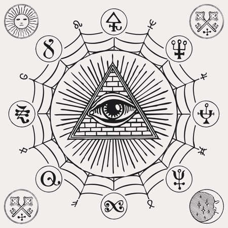 Illustration with an all-seeing eye, esoteric and magical signs. Hand-drawn vector banner in retro style with a third eye, alchemical and Masonic symbols