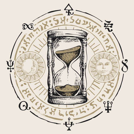 Hand-drawn hourglass with running sand inside in retro style. Vector banner with a sand clock, esoteric and magic symbols written in a circle. Glass timer. Time and caducity of life concept. Vetores