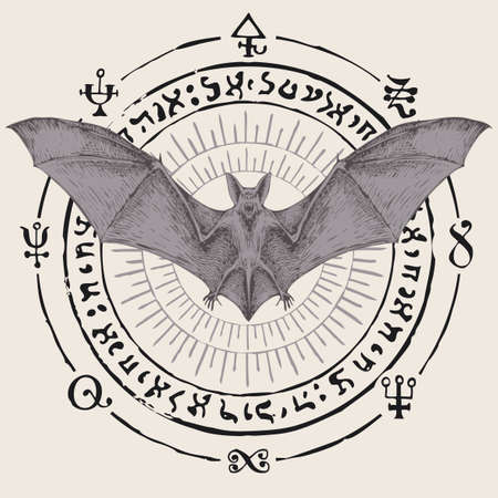 Scary bat with open wings on a background of magic symbols written in a circle. Witchcraft, occult attributes, alchemical signs. Vector banner with flying vampire, hand-drawn night creature with fangs