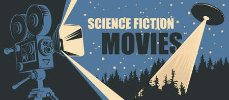 Cinema poster for science fiction movies with old-fashioned movie projector and UFO with bright ray flying over the forest. Suitable for banner, flyer, billboard, web page, ticket Ilustracja