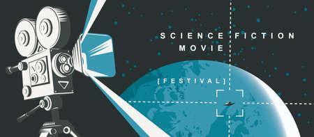Movie poster for the science fiction film festival with an old movie projector and UFO on the background of the planet Earth, a view from space. Suitable for banner, flyer, Billboard, web page, ticket