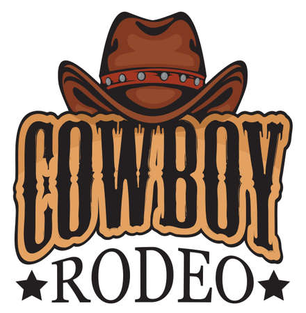 Emblem or banner for a Cowboy Rodeo show in retro style. Decorative vector illustration with cowboy hat and lettering. 向量圖像
