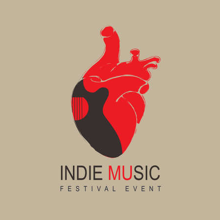 Poster for an indie music festival with a black guitar inside a red human heart. Creative vector illustration, suitable for banner, cover, flyer, invitation, playbill. Music collection 向量圖像