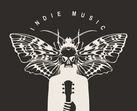 Indie music festival poster with a mysterious winged creature with a moth instead of a head, who holds a guitar. Creative vector illustration, suitable for banner, flyer, invitation, playbill, cover 向量圖像