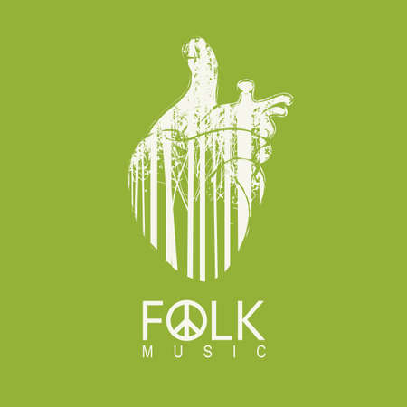 Poster for a folk music decorated by human heart with silhouettes of slender trees on a green background. Music collection