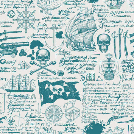 Vintage seamless pattern with pirate flag, skulls, crossbones, swords, guns, caravels and other nautical symbols. Vector hand-drawn background with sketches and illegible handwritten notes