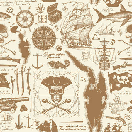 Vintage seamless pattern on the pirates theme with hand-drawn sketches. Vector background with skull, crossbones, pirate flag, swords, guns, sailboats, old map and other nautical symbols.