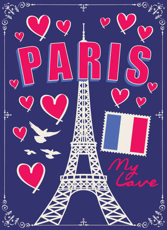 French postcard or banner with the famous Eiffel Tower, french flag, hearts and pigeons on the dark blue background. Vector flat illustration with words Paris my love 向量圖像