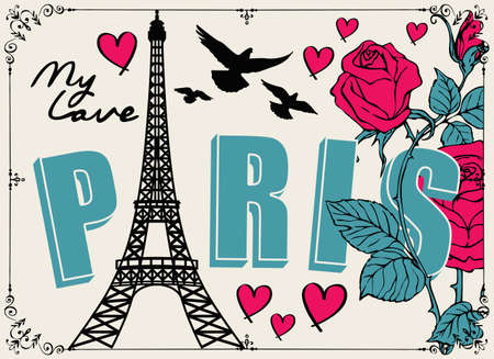 French postcard or banner with the famous Eiffel Tower, pink roses, hearts and pigeons on a light background in cartoon style. Flat vector illustration with words Paris my love 向量圖像