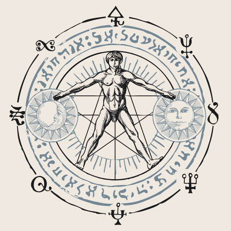 Illustration with a human figure like Vitruvian man by Leonardo Da Vinci, sun, moon and alchemical symbols. Hand-drawn banner with esoteric and magical signs written in a circle in retro style