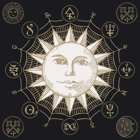 Hand-drawn Sun with magic symbols and anthropomorphic face in retro style on the black background. Vector banner with esoteric signs written in a circle 向量圖像