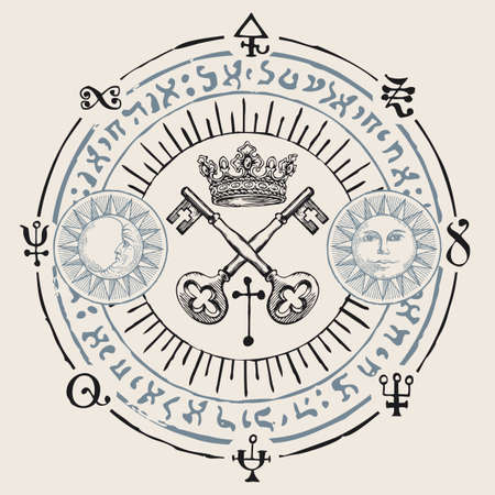 Hand-drawn crown, old crossed keys and magical symbols in retro style on a beige background. Vector banner with sun, moon, esoteric and magic signs written in a circle