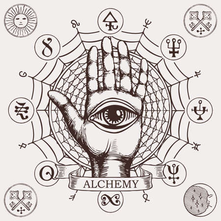 Open palm with all seeing eye symbol. Vector hand-drawn banner on the theme of alchemy with human hand, web, esoteric and magic symbols written in a circle in retro style 向量圖像