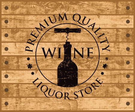 Label or banner for wine with a bottle and corkscrew on the background of wooden planks. Decorative vector emblem or illustration, suitable for liquor store graphic design  イラスト・ベクター素材