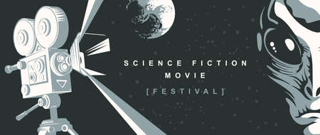 Cinema poster for science fiction movie festival with old-fashioned movie projector, alien face and moon on the starry sky. Suitable for banner, flyer, billboard, web page, ticket