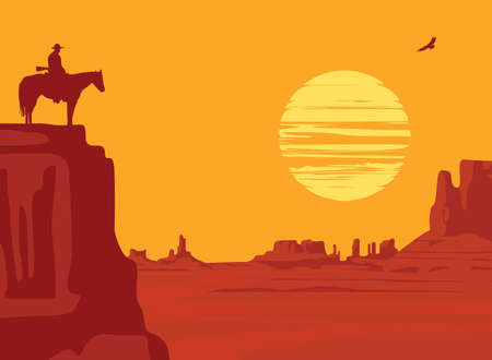 Western landscape with wild American prairies and silhouette of a cowboy riding a horse on top of a cliff and flying hawk at the orange sunset. Vector illustration, Wild West vintage background