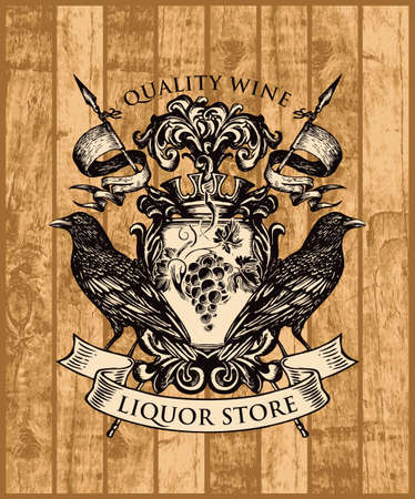 Hand-drawn coat of arms for liquor store in vintage style on a wooden background. Vector heraldic Coat of arms with ravens, crown, spears and grape cluster on the knightly shield