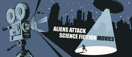 Cinema poster for science fiction movies with an old movie projector and a UFO with a bright beam aimed at a fleeing person in a big city at night. Aliens attack. Suitable for banner, flyer, ticket Stock fotó - 152540552