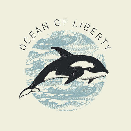 Hand-drawn illustration of a big whale and a circle with sea waves on in retro style. Vector banner on the theme of adventure, travel and discovery with the words Ocean of liberty 向量圖像