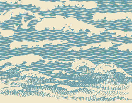 Decorative illustration of the sea or ocean, hand-drawn storm waves with breakers of sea foam. Vector banner or background in retro style with blue waves passing into the sky with clouds