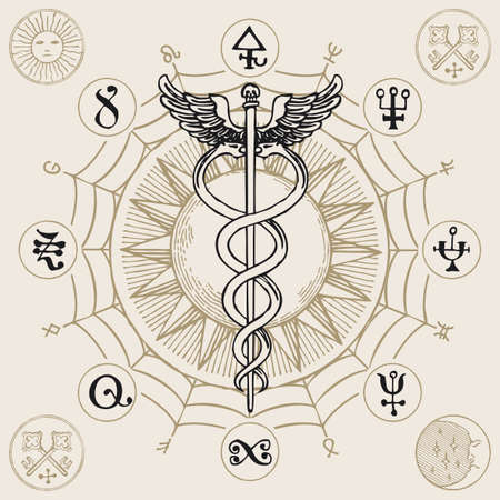 Caduceus with two snakes and wings. Vector banner with hand-drawn staff of Hermes, sun, web, esoteric signs and magic symbols written in a circle. Medical symbol in vintage style