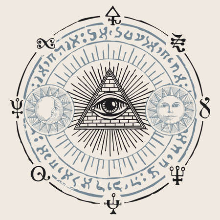 Illustration with an all-seeing eye, Sun, Moon, alchemical and Masonic symbols. Hand-drawn vector banner in the form of a circle with a third eye, esoteric and magical signs in retro style