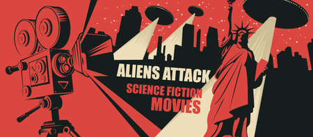 Cinema poster for science fiction movies. Vector illustration with an old movie projector and flying saucers with a bright beams and a fleeing person in a big city at night. Aliens attack. Illusztráció