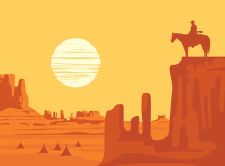Western landscape at orange sunset with a silhouette of a cowboy on horseback and indian wigwams at the wild American prairies. Decorative vector illustration, Wild West vintage background