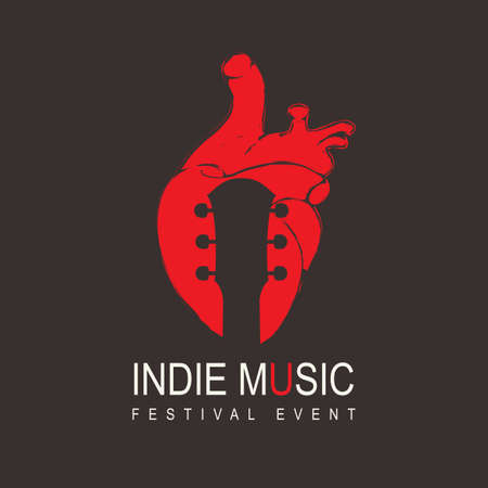 Poster for an indie music festival with a guitar neck inside a red human heart on the black background. Creative vector illustration, suitable for banner, cover, flyer, invitation. Music collection
