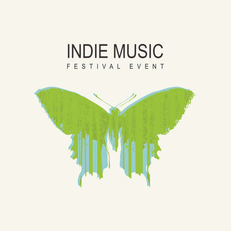 Indie music festival poster with a green butterfly decorated with silhouettes of trees on a light background. Vector illustration suitable for banner, cover, flyer, invitation. Music collection