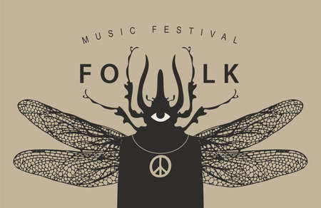 Folk music festival poster with a mysterious winged creature with a one eye and beetle head. Creative vector illustration, suitable for banner, cover, flyer, invitation, playbill