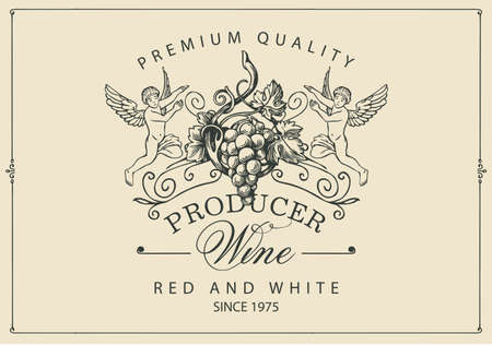 Wine label with a bunch of grapes, angels and calligraphic inscription in retro style. Vector hand-drawn label on a light background