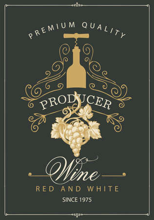 Wine label with a bunch of grapes, bottle with corkscrew, curlicues and inscriptions in retro style. Vector hand-drawn label with curlicues on the black background
