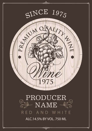 Wine label with a hand-drawn bunch of grapes on a wooden cask in retro style. Ornate vector label on a brown background
