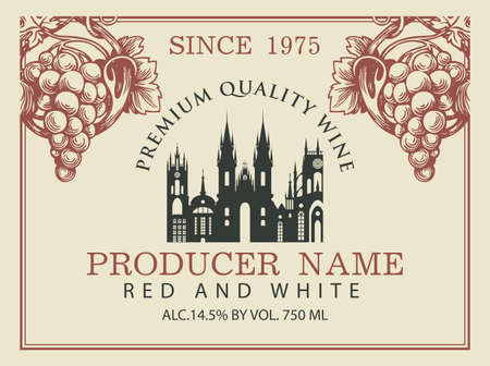 Wine label for red and white wine with silhouette of old european town and hand-drawn bunches of grapes. Vector label in retro style on the old paper background.