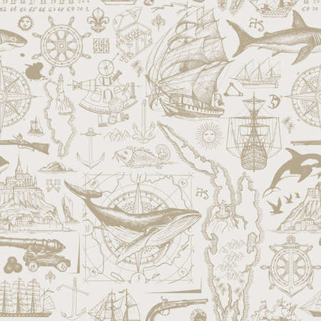 Vintage seamless pattern on the theme of travel, adventure and discovery. Vector background with hand-drawn sketches of sailboats, islands, old maps, wind rose, anchors, fishes, cannons in beige color