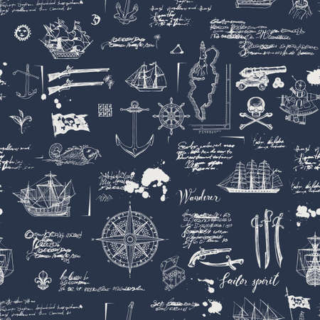 Vintage abstract seamless pattern on the theme of pirate adventures with sketches and illegible notes. Vector background with skull, crossbones, flag, swords, guns, caravels and other nautical symbols 向量圖像
