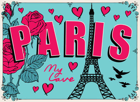 French postcard or banner with the famous Eiffel Tower, roses, hearts and pigeons on the emerald background. Flat vector illustration in cartoon style with words Paris my love