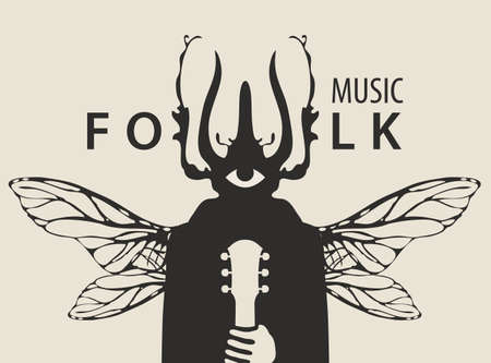 Folk music festival poster with a mysterious winged creature with a one eye and beetle head holding a guitar. Creative vector illustration, suitable for banner, flyer, invitation, playbill, cover